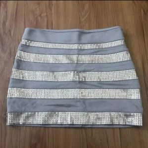 🦋 Express Gray Sequin Mini Sexy Fitted Skirt